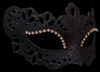 Burano Strass Venetian Mask - Black with Black Trim, Black Glitter and Crystal Eyeliner
