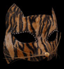 Gatto Tigre Black and Orange Venetian Cat Mask with Whiskers