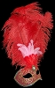 Columbina Piume Festa Brillante - Red - Authentic Hand Made Venetian Feather Mask