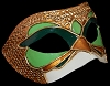 Columbina Deco Fly - Green - Venetian Masquerade Mask