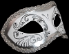 Colombina Decor Era - Fancy Masquerade Mask - Silver/White