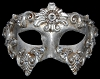 Colombina Baroque - Silver - Authentic Hand Made Venetian Mask