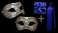 Colombina Stucchi Silver Venetian Masquerade Mask and Blue Hooded Cloak Costume