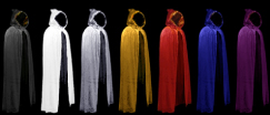 Hooded Cloaks - Black, White, Silver, Gold, Red, Blue and Purple