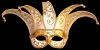 Colombina Jolly Brillante - White/Gold - Venetian Jester Eye Mask