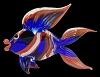 Murano Glass Fish Blue/Orange