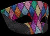 Smoking Arlecchino Multi-color Fancy Glitter Venetian Eye Mask