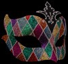 Farfallina Arlecchina Multi-color Fancy Glitter Venetian Eye Mask