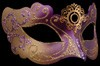 Eco Purple and Gold Venetian Mask with Purple and Gold Glitter and Gold Charm