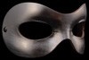 Fellini Flexible Silver Leather Venetian Eye Mask