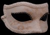 Lady Velluto Ducale White and Cream Lace Mask with White Trim and Crystal Eyeliner