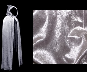 Silver Cloak - Authentic Hooded Venetian Cloak for Masquerade Parties