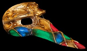 Zanni Ibiz - Carnival Design Long Nose Mask From Venice Italy.