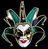 Joker Mask Green/Black- Handmade Venetian Mask