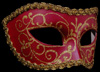 Colombina Brillantina - Magenta Mask with Gold Trim and Gold Glitter