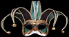 Colombina Jolly Velvet - Green - Venetian Jester Eye Mask