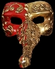Nasone - Gold/Red - Hand Made Venetian Nose Mask