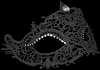 Womens Masquerade Mask - Black Lace Burano Strass