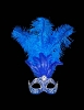 Columbina Piume Festa Brillante - Blue - Authentic Hand Made Venetian Mask