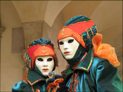 Venetian Masks at Carnival in Venice Italy