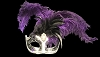 Colombina Punta Cuffo Star Purple Fancy Venetian Feather Mask