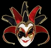 Joker Mask Black/Red- Handmade Venetian Mask