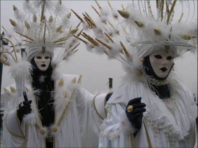 White Feather Venetian Mask - Venice Carnevale