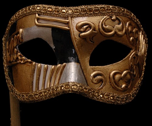 Colombina Art Deco Black and Gold Stick Venetian Mask