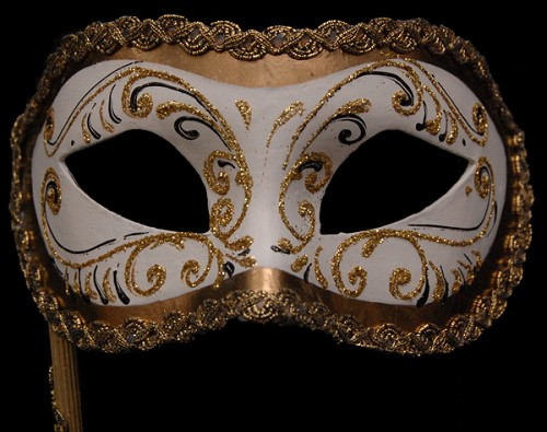 Colombina White and Gold Fancy Venetian Stick Mask