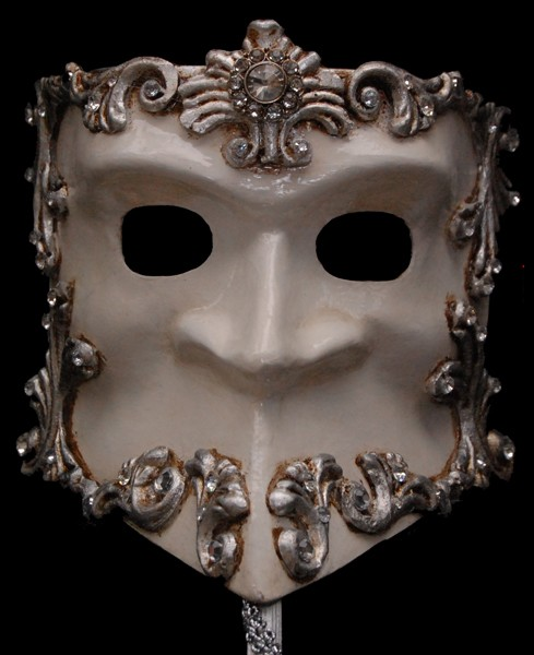 Bauta Fancy White and Silver Venetian Stick Mask