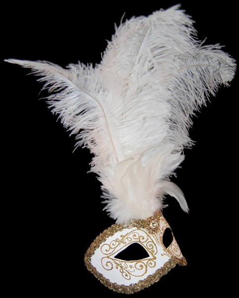 Colombina Brillantina Ciuffo - Venetian Feather Eye Mask - White