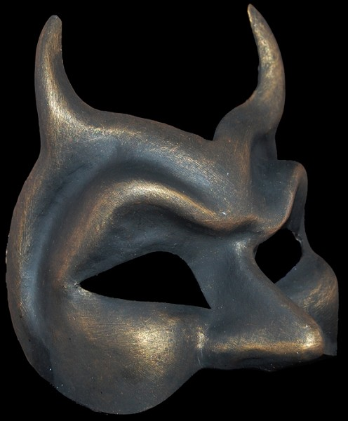 Diavolo - Authentic Hand Made Venetian Mask - Bronze