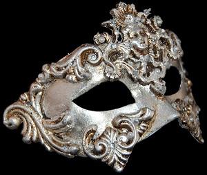Colombina Barocco - Silver - Venetian Masquerade Mask