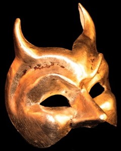 Diavolo - Authentic Hand Made Venetian Mask - Gold