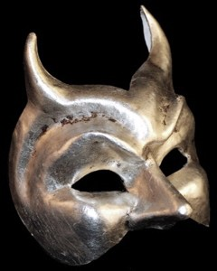 Diavolo - Authentic Hand Made Venetian Mask - Silver