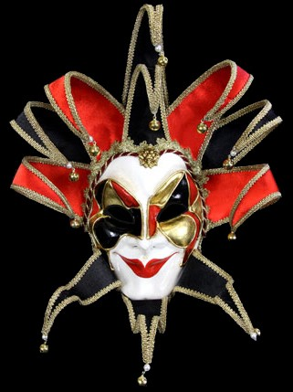 Joker Reale Mask - Red- Handmade Venetian Mask